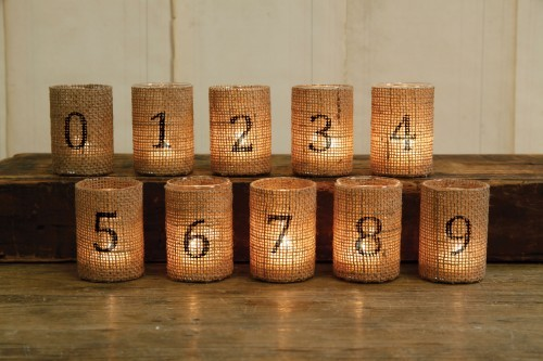 Burlap Candle Table Numbers
