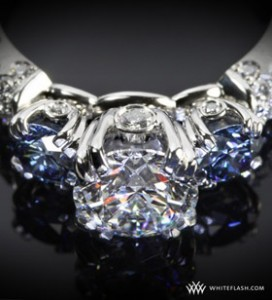 champagne 3 stone engagement ring with diamonds and blue sapphires(2)
