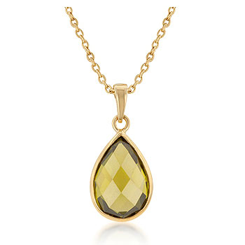 Ranyta's 14k Gold Vermeil Olivene Pear Drop Necklace