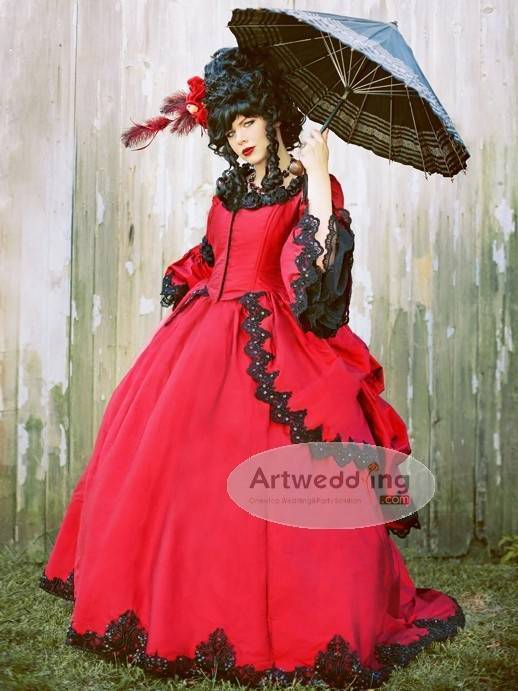 Red Gothic Wedding Dress with Parasol