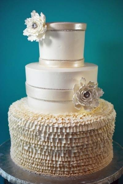 Three Tier Ruffled Wedding Cake