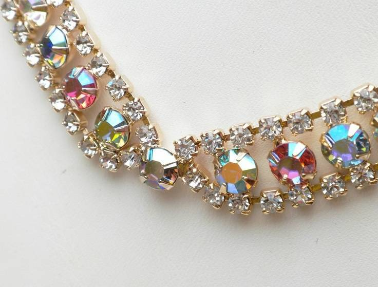 Aurora Borealis Rhinestone Collar Necklace