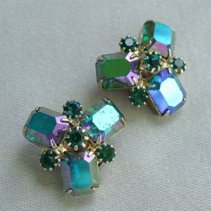 Vintage Mid-Century Weiss Chunky Aurora Borealis Rhinestone Earrings in Green and Purple