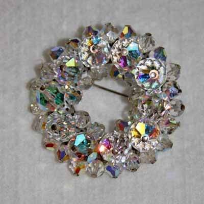 Vintage Aurora Borealis Faceted Crystal Brooch 60OFF
