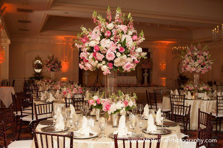 Large Flower Centerpieces in Tall Vases