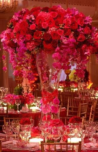 Large Fuschia and Red Flower Centerpieces