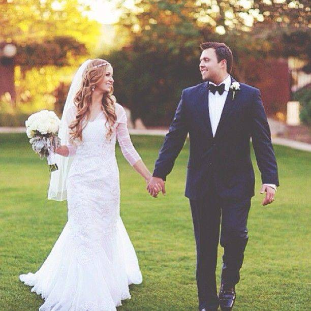 Bride and Groom Holding Hands, Walking