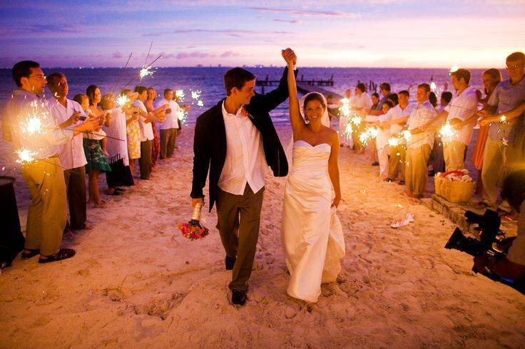 Bride and Groom at Evening Beach Wedding
