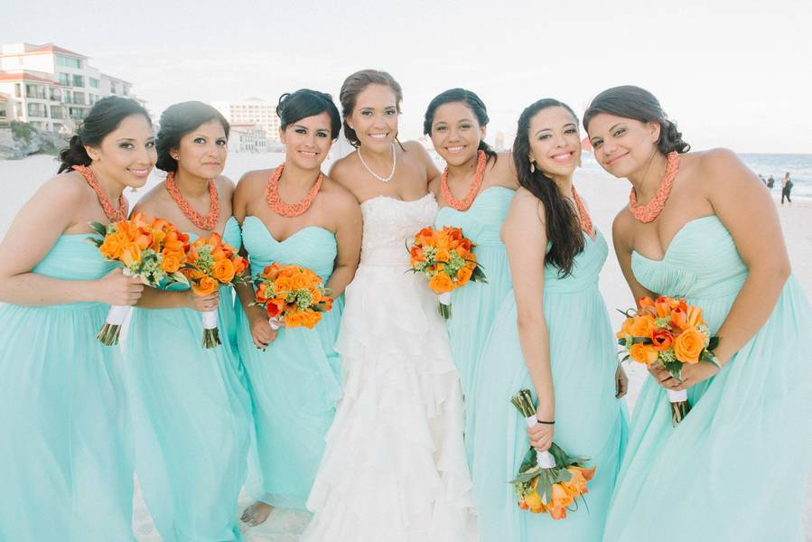 Aqua + Tangerine Wedding in Cancun