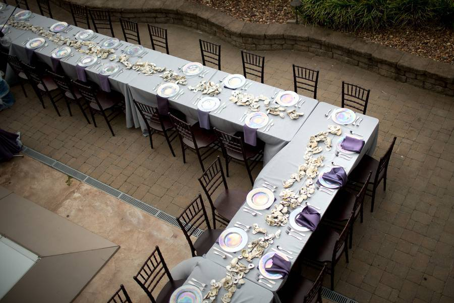 Oyster Shell and Purple Hues for Rustic Romance