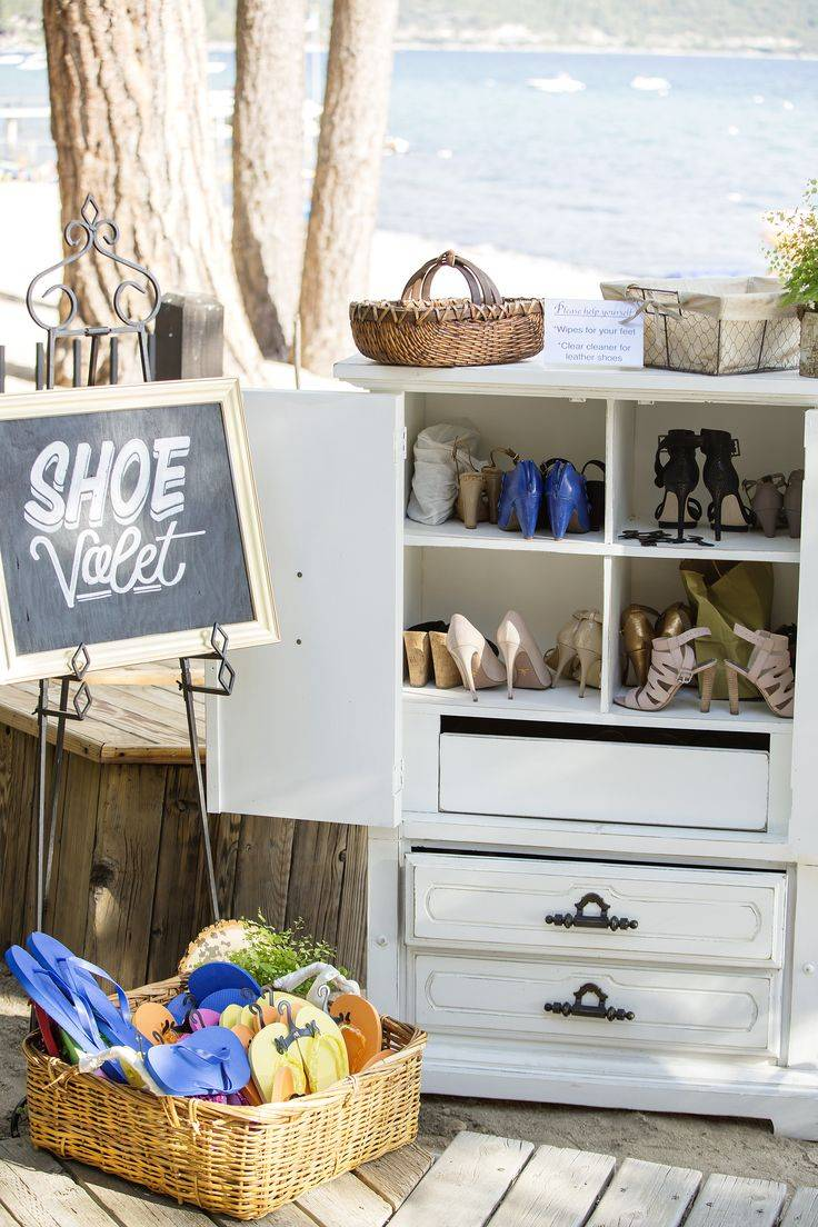 Create an Adorable DIY Beach Wedding Shoe Valet