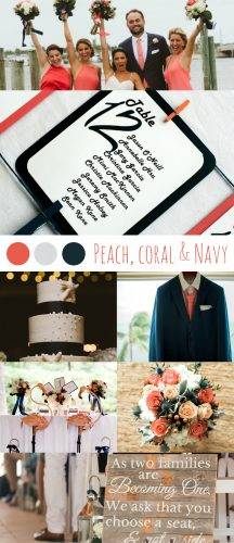 Peach Coral Navy Most Beautiful Beach Wedding Color Schemes