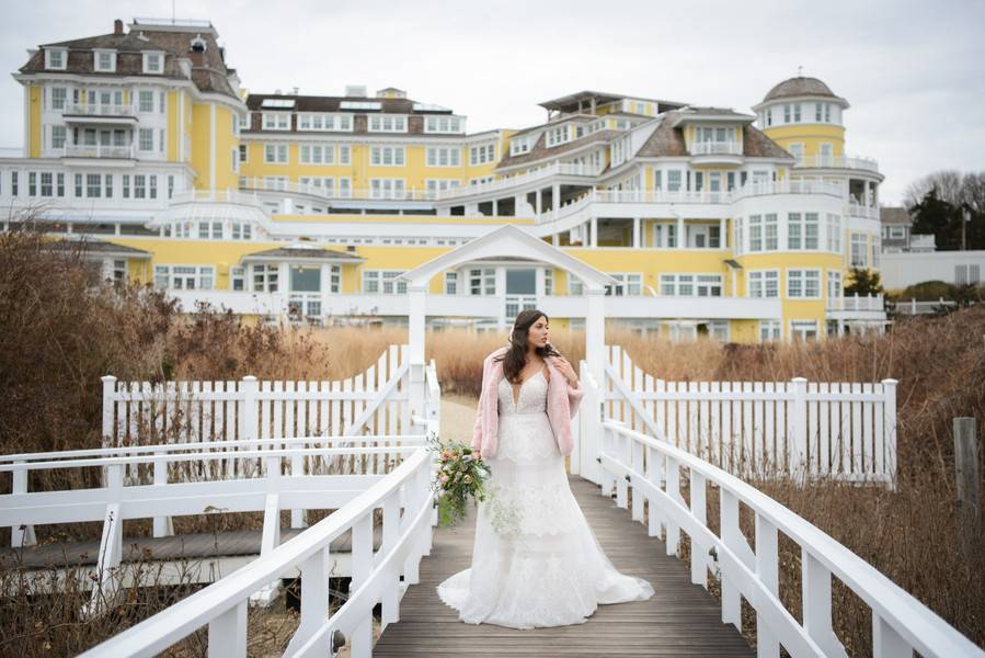 Beautiful Blushing Bride by the Winter Seaside
