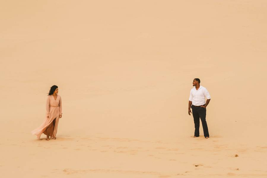 Chic Bohemian Sand Dune Engagement Session