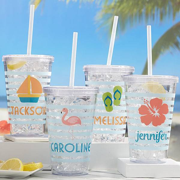 Beach Fun Personalized Acrylic Insulated Tumblers - 21213