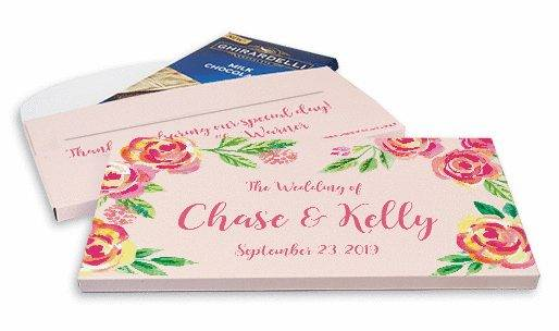 Deluxe Personalized Pink Flowers Wedding Ghirardelli Peppermint Bark Bar in Gift Box (3.5oz)