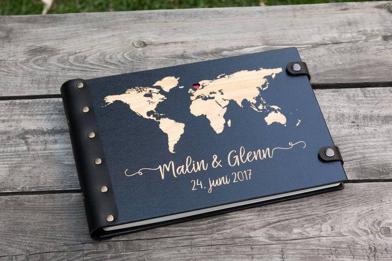 World Map Guest Book Adventure Wedding Guest Book Travel image 0
