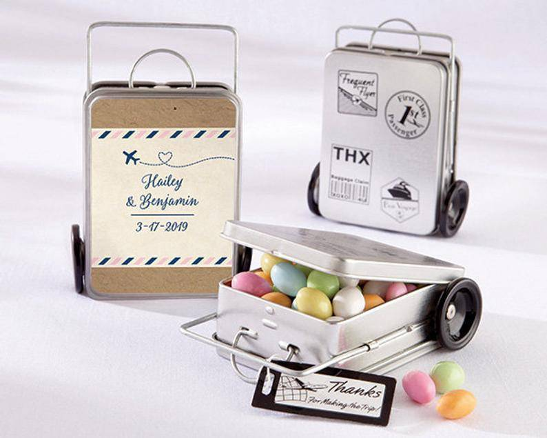 Personalized Suitcase Favor Tins Travel & Adventure Mini image 0