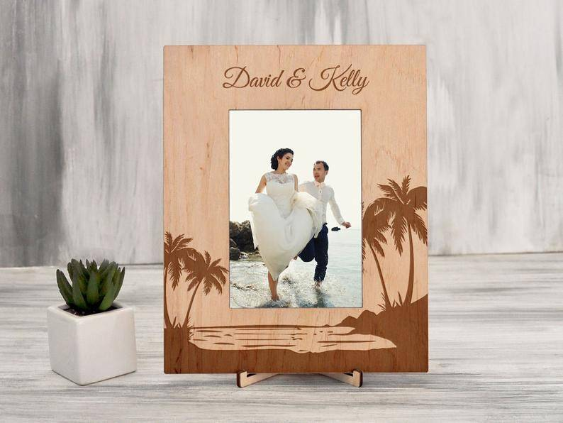 Tropical Wedding Photo Frame Destination Wedding Gift Natural