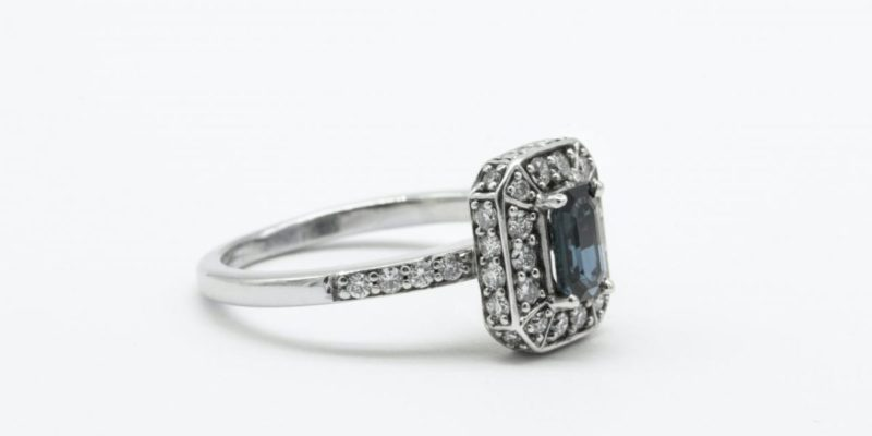 silver and blue gemstone ring